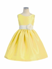 Yellow Poly Silk V-Back Dress