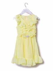 Yellow Ruffled Chiffon Dress w/ Brooch