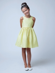 Yellow Sleeve Cut Out Floral Jacquard Dress