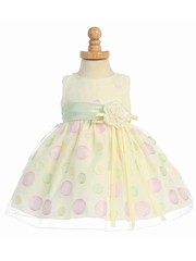 Yellow Sleeveless Organza Dress w/ Polka Dot Embroidery & Mint Sash