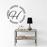 Circle Name with Monogram - Wall Decals