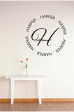 Custom Circle Name with Monogram | Wall Decals