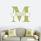 Custom Name Banner And Monogram - Wall Decal