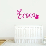 Custom Name With Bunny - Wall Decals