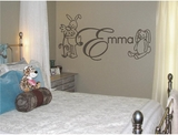 Custom Kid's Name With Bunnies Wall Decals