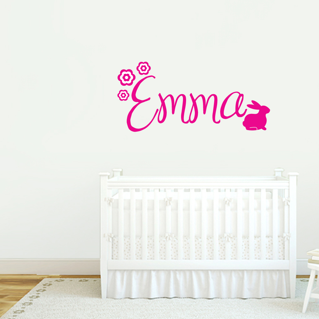 Custom wall decal 2017 grasscloth wallpaper custom name with bunny wall decals amipublicfo Images