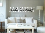 Custom Last Name with Year Wall Decals