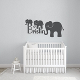 Custom Name with Elephants - Wall Decals
