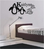 Custom Name Penguin Wall Decals