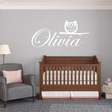 Custom Name With Owl - Wall Decal
