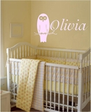 Custom Name with Owl Wall Decals