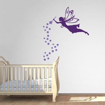 Fairy With Wand And Stars - Wall Decals