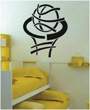 Funky Basketball and Net Vinyl Wall Decals