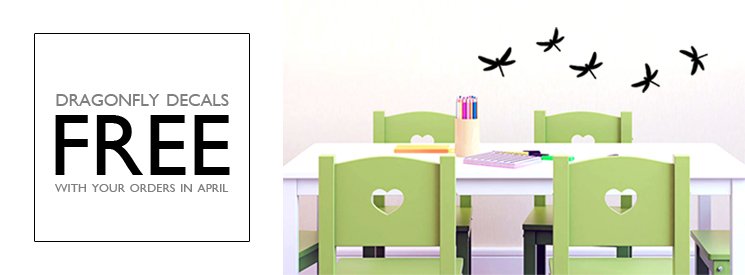 FREE Dragonfly Wall Decals In April!
