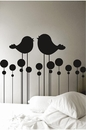 Kissing Birds Headboard | Wall Decals