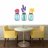 Mason Jars With Flowers - Printed Wall Decals