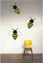 Set of 3 Bees | Printed Wall Decals