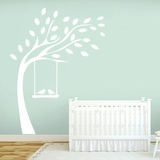 Tree With Birds On Swing - Wall Decals