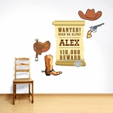 Western Set With Custom Name - Printed Wall Decals