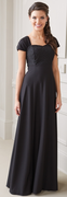 Sofia Dress<br>Beaded Bodice with Pleated Cap Sleeve