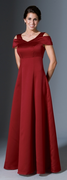 Andante<br>Designer Off the Shoulder Collar Satin Bridesmaids Dress
