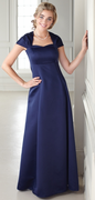 Elyse<br>Queen Ann Neckline Satin Dress
