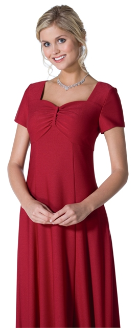 Caprice<br> Short Sleeve Sweetheart Neckline Dress