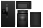 Appliance Package in Black Amana Side by Side Refrigerator ASD2575BRB,Amana Black Stove AER5330BAB , Amana Black Tall Tub Dishwasher ADB1500ADB , Amana Black Over the Range AMV1150VAB