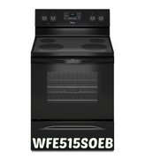 Whirlpool 5.3 Cu.Ft Range with Easy Wipe Ceramic Glass Cooktop & FlexHeat Element WFE515S0EB Black