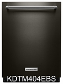 Black Stainless Steel Dishwasher Kitchenaid KDTM404EBS Dishwasher with Dynamic Wash Arms 44 dBA ENERGY STAR