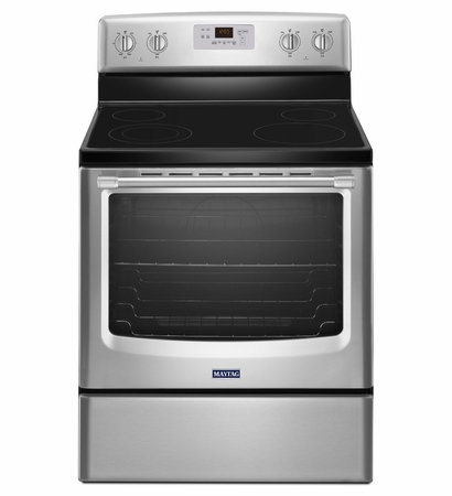 Maytag 6.2 Cu. Ft.  Range With Stainless Steel Handles MER8600DS 10 year limited warranty on the Glass Cooktop , Elements and Cavity