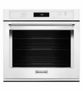KitchenAid White Wall Oven KOSE500EWH 30 inch Single Wall Oven with Even-Heat and True Convection