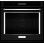 KitchenAid Black Wall Oven KOSE507EBL 27 inch Single Wall Oven with Even-Heat and True Convection