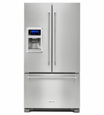 Kitchenaid Counter Depth French Door Refrigerator with Exterior Ice and Water KRFC400ESS 20 cu. Ft. 36 Inch Width