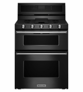 Kitchenaid Gas Double Oven Convection Range KFGD500EBL 30-Inch 5 Burner Black Gas Range