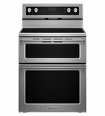 Kitchenaid Range 5 Burner Electric Double Oven Convection Range Stainless Steel KFED500ESS 30-Inch