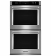 """KitchenAid Stainless Steel 30"""" Double Wall Oven KODE500ESS with Even-Heat True Convection"""