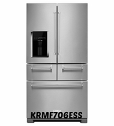 Kitchenaid 25.8 Cu. Ft. 5-Door Stainless Steel Refrigerator with Platinum Interior Design, Preserva Food Care System KRMF706ESS