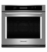 KitchenAid Stainless Steel Wall Oven KOSE507ESS 27 inch Single Wall Oven with Even-Heat and True Convection