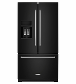 Kitchenaid Standard Depth Black French Door Refrigerator 26.8 cu.ft 36-Inch width KRFF507EBL with Exterior Ice and Water