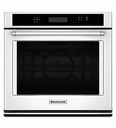 KitchenAid White Wall Oven KOSE507EWH 27 inch Single Wall Oven with Even-Heat and True Convection