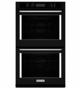 """KitchenAid Black Stainless Steel 30"""" Double Wall Oven KODE500EBL with Even-Heat True Convection"""