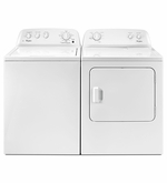 Laundry Washer and Dryer Pair Top Load Whirlpool Washer with the Deep Water WTW4616FW -Dryer 7.0 cubic feet Wrinkle Shield WED4616FW