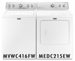 MAYTAG COMBO PAIR WASHER EXTRA-LARGE CAPACITY WASHER MVWC416FW MAYTAG DRYER EXTRA-LARGE CAPACITY DRYER MEDC215EW