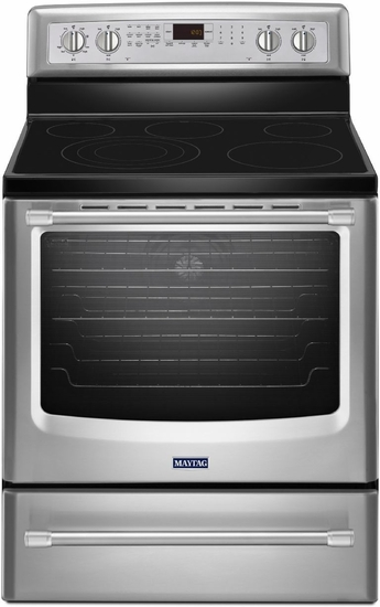 Maytag 6.2 Cu. Ft. Convection Range with Warming Drawer MER8850DS - 10 Year Warranty on the glass cooktop, elements and cavity