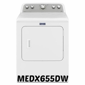 Maytag MEDX655DW Bravos Electric Dryer with 7.0 Cu. Ft. Capacity, Reversible Side Swing Door, Heat Sensor Dry, Wrinkle Prevent 150, and Drum Light