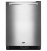 MAYTAG MINI UNDERCOUNTER REFRIGERATOR MURM24FWBS WITH REMOVABLE SHELVES.