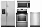 Amana Stainless Steel Appliance Package Side by Side Refrigerator ASD2575BRS , Stainless Steel Stove AER5330BAS, Top Controls Stainless Dishwasher ADB1500ADS, Microwave AMV1150VAS