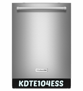 Stainless Steel  Kitchenaid Dishwasher with ProWash Cycle 46 dBA KDTE104ESS