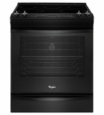 Whirlpool Black Front Control Electric Stove with Fan Convection 6.2 cu. ft Slide in Range WEE730H0DB